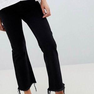 ASOS maternity black cropped flare fringe jeans